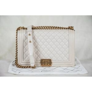 CHANEL Bags - Chanel pearl quilted leather Medium boy flap bag